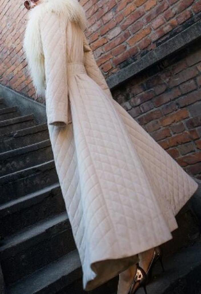 ainr Women's Classic Long Sleeve Faux Fur Neck A-Line Puffer Down Coat Beige XXS by ainr (Image #2)