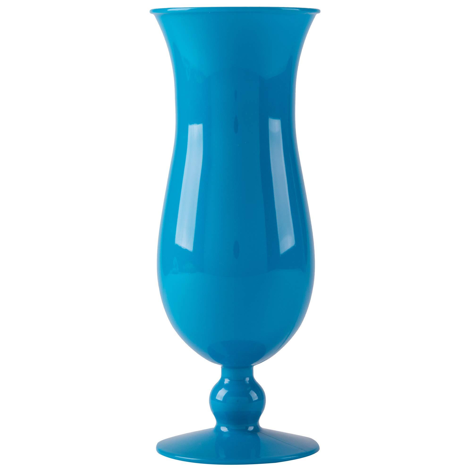 15 oz. Blue Plastic Hurricane Glasses, Break Resistant, Dishwasher Safe, Reusable, GET HUR-1-BL (Qty, 12)