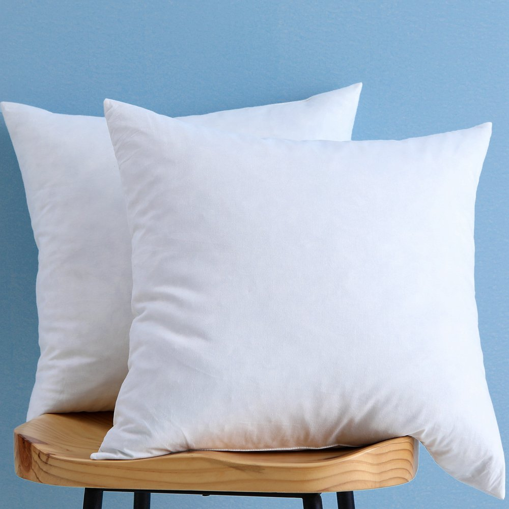 Set of 2, Down and Feather Throw Pillow Insert, 100% Cotton, 20x20 Inch