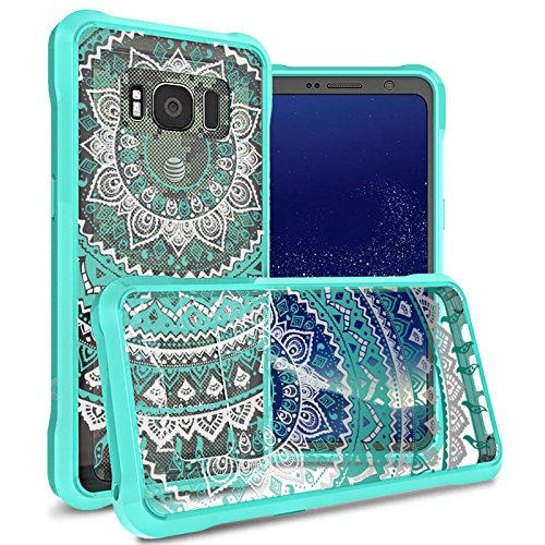 Tld Single (CoverON ClearGuard Series Galaxy S8 Active Case, Single Piece Phone Cover with Hard Polycarbonate Back Plate and Semi-Flexible TPU Bumpers - Teal Mandala Design)