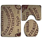 DING Ouija Board Soft Comfort Flannel Bathroom Mats,Anti-Skid Absorbent Toilet Seat Cover Bath Mat Lid Cover,3pcs/Set Rugs