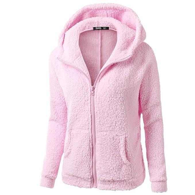96a5c39e99d2 HARRYSTORE Womens Hooded Full Zip Up Sherpa Fleece Hoodie Jacket Cotton  Coat (S