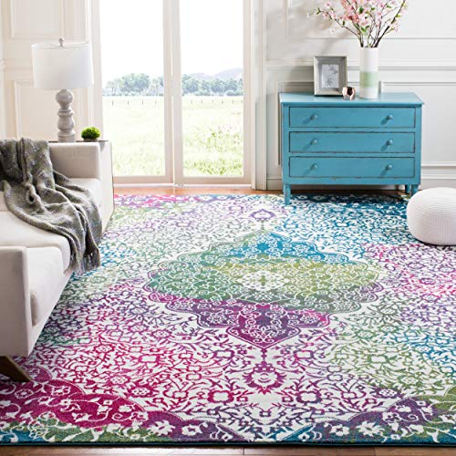 Safavieh Water Color Collection WTC672F Ivory and Fuchsia Area Rug, 4 x 6