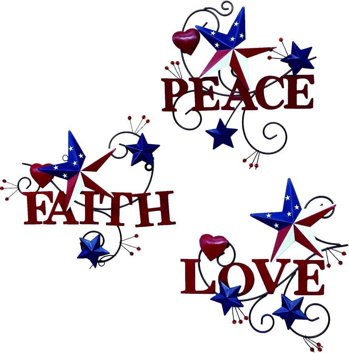 Amazon Com 4homemax Primitive Country Metal Hanging Wall Art Sculpture Hearts And Americana Stars With Love Peace Faith Set Of 3 July 4th Patriotic Indoor Outdoor Decor Everything Else