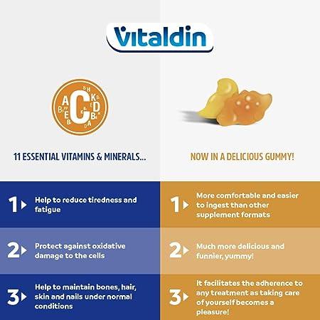 VITALDIN Multivitaminas Kids gummies - Complemento Alimenticio para Niños con 11 Vitaminas & Minerales - 70 gominolas (suministro para 1 mes); sabor a Frutas - Vitalidad & Inmunidad - Sin Gluten 140 g: Amazon.es: Salud y cuidado personal