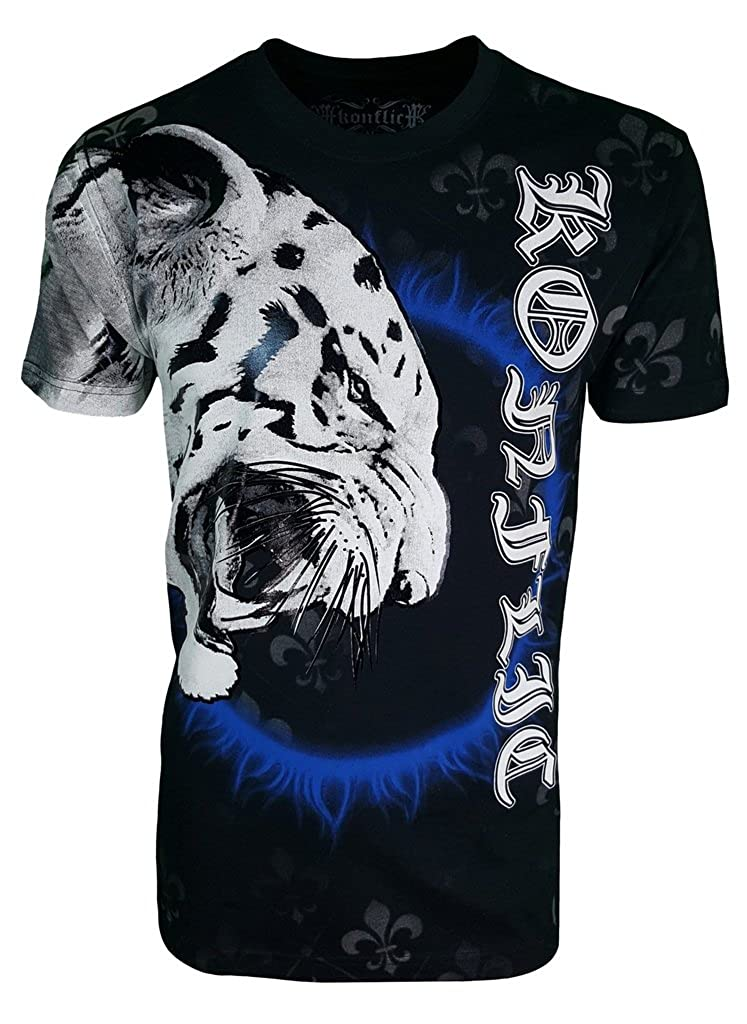 42b25d42c Top6: Konflic Men's White Tiger Crew Neck MMA Muscle T-Shirt