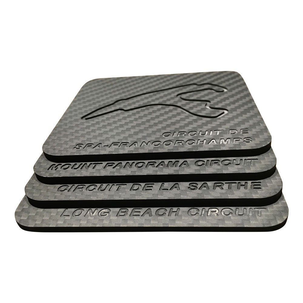 Time Attack Carbon Genuine 100% Carbon Fiber Race Track Drink Coaster Set of 4 (Spa-Francorchamps / Sarthe / Long Beach / Mount Panorama)