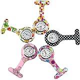 NURWAT Nurses Lapel Watch Silicone Clip-on Fob Brooch Pocket Watch (Pack of 5)