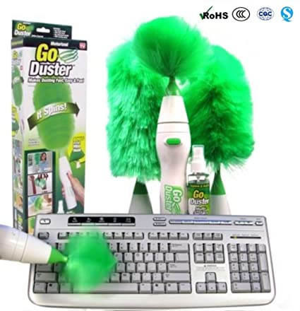 Romote plumero eléctrico giratorio multifuncional réglé cepillo de limpieza motorizado plumeaux verdes de pluma para el