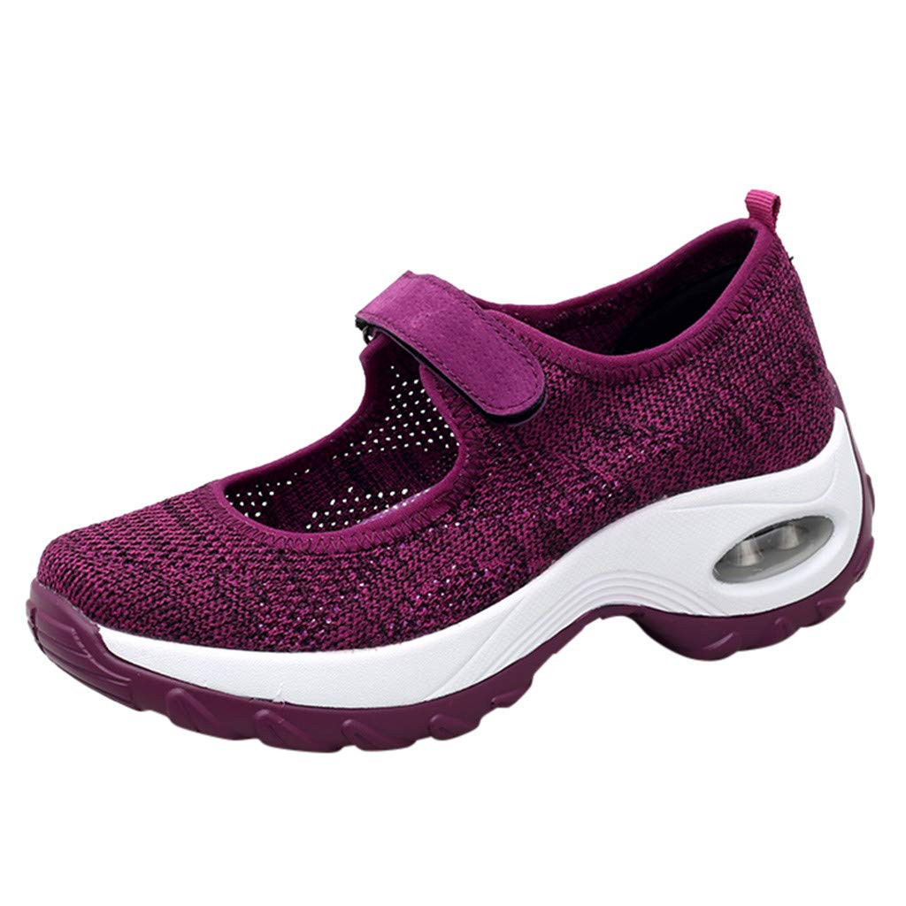 2019 New Women's Casual Breathable Lightweight Sports Shoes Summer Outdoor Soft Thick Bottom Running Sneakers Shoes (Purple, US:6.5) by AuroraX Shoes