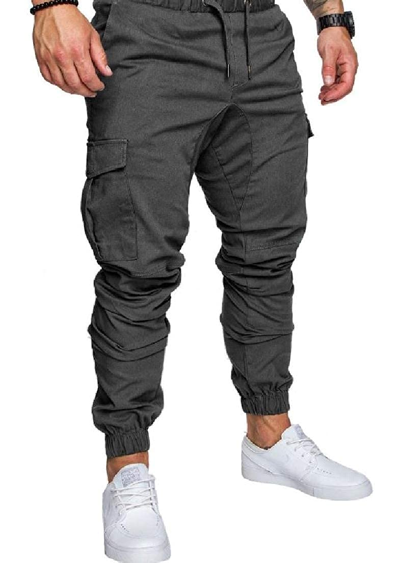 Vska Men's Casual Drawstring Relaxed-Fit Solid Pocket Training Pants