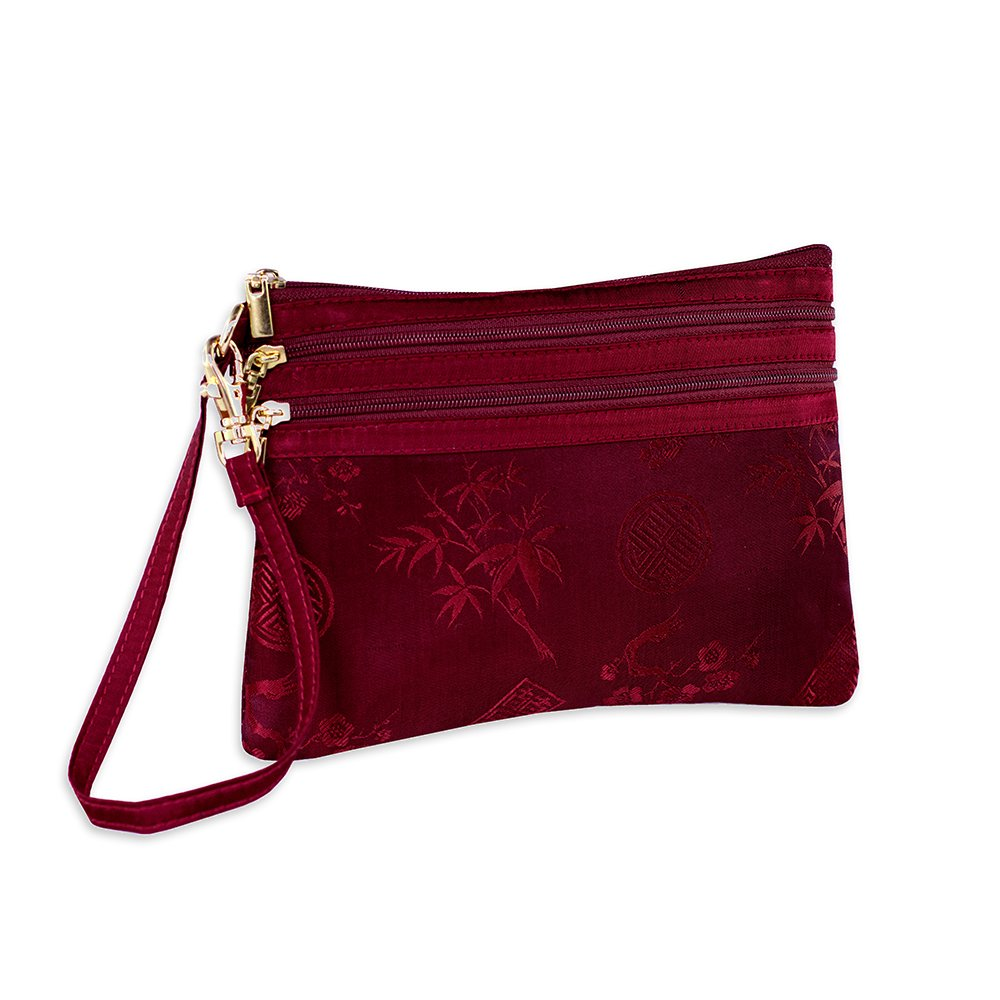3 Zip Wristlet Pouch - Silk Jacquard (Chili Red)