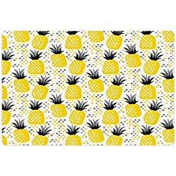 Ambesonne Exotic Pet Mat for Food and Water, Pineapples Tropic Accents Coastal Theme Beach Island Fruit Kitchen Graphic, Rectangle Non-Slip Rubber Mat for Dogs and Cats, Yellow Grey Black