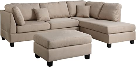 Poundex F7605 Bobkona Dervon Linen Like Left Or Right Hand Chaise Sectional  Set With Ottoman