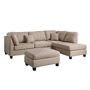 Poundex F7605 PDEX-F7605 Upholstered Sofas/Sectionals/Armchairs, Sand