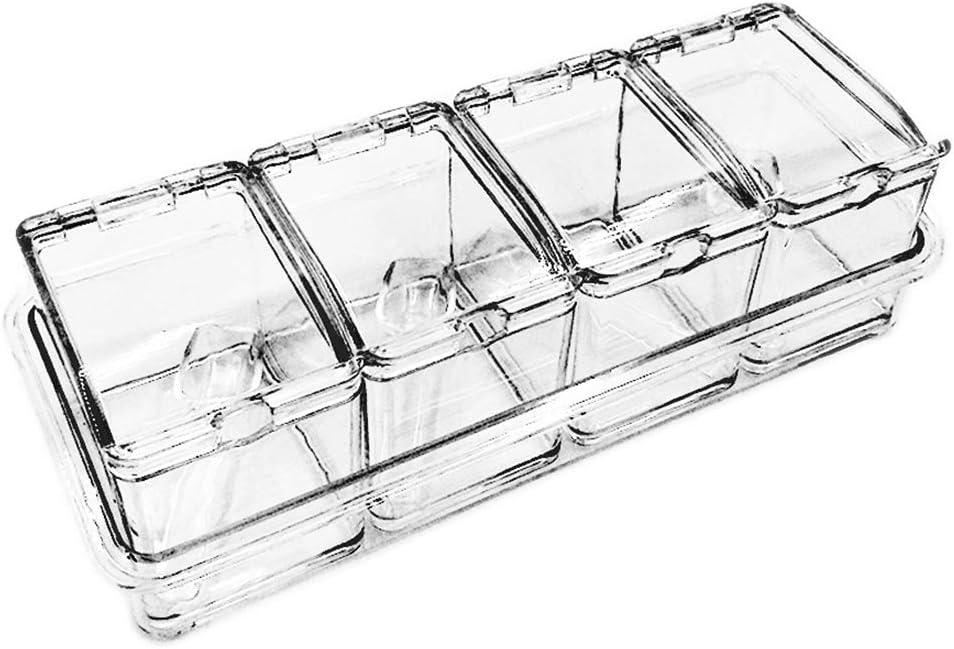 Drenky Seasoning Box 4 Piece Acrylic Seasoning Box with Spoons, Storage Container Condiment Jars