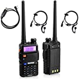 BaoFeng UV-5R Dual-Band UHF/VHF Portable Ham Two Way Radio (Pack of 2) with Programming Cable