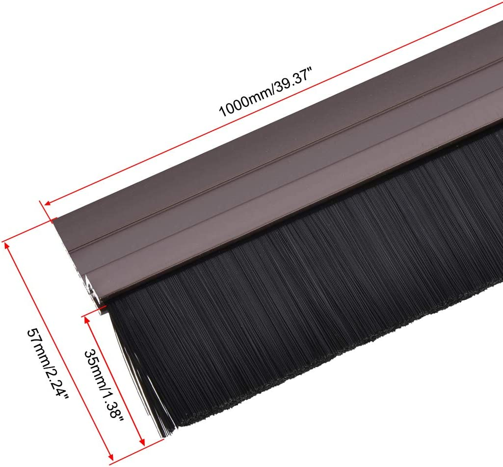 uxcell Door Bottom Sweep Brown H-Shape Aluminum Alloy Holder W 2-inch PP Nylon Soft Brush 1000mm x 72mm Approx 39.37-inch x 2.83inch
