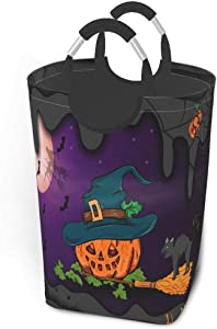 Collapsible Laundry Baskets Large Halloween, Pumpkin With Witch Hat Dirty Clothes Laundry Hamper Dorm Fabric Fold Laundry Baskets W/Handles Rectangle Storage Bins For Kids Baby Girl Camp Travel 50l