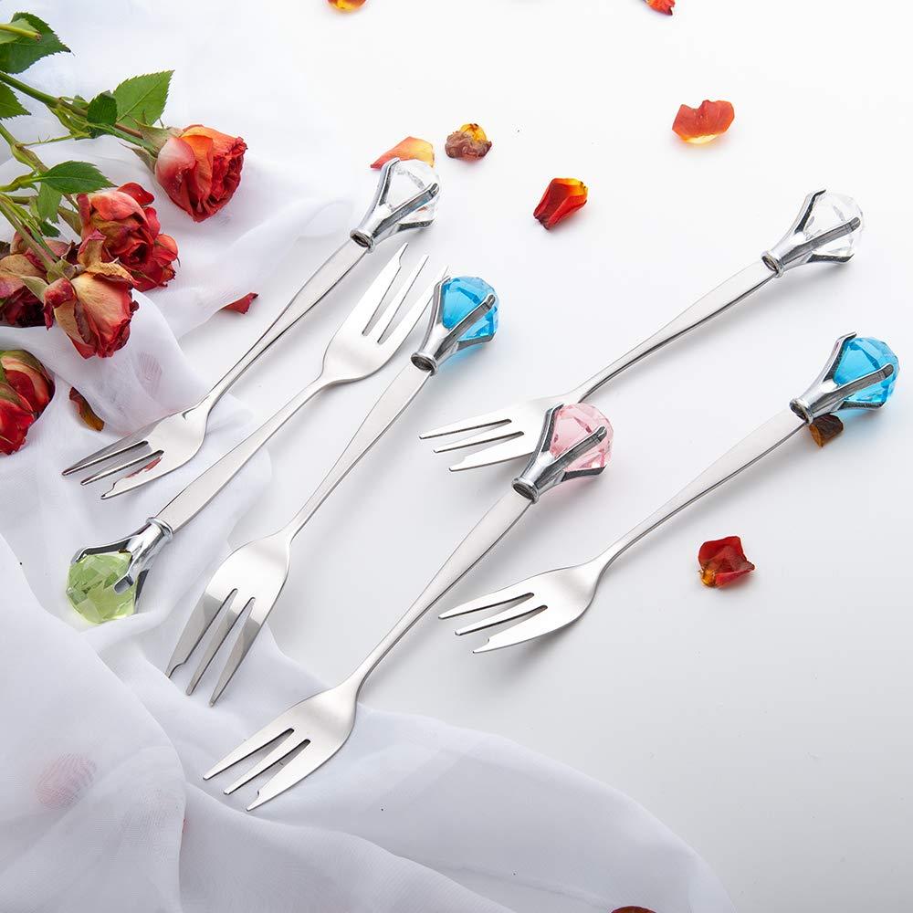 6 Pieces Stainless Steel Dinner Forks with Crystal Elegant Appetizer Fruit Dessert Cake Salad Cocktail Forks Kitchen Cutlery