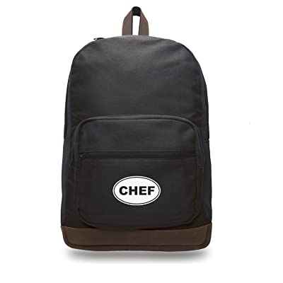 Chef Text Canvas Teardrop Backpack with Leather Bottom Accents