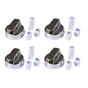 4YourHome C 4-Pack Silver Chrome Generic Universal Control Knob w/12 Adapters