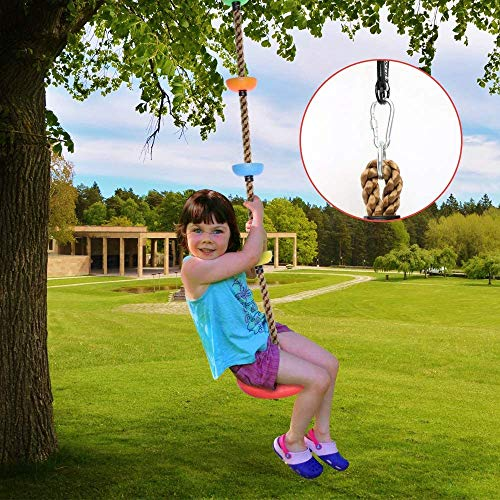 Climbing Rope Tree Swing with Platforms and Disc Swing Seat Set Outdoor Playground Accessories for Kids Including Hanging Strap & Carabiner