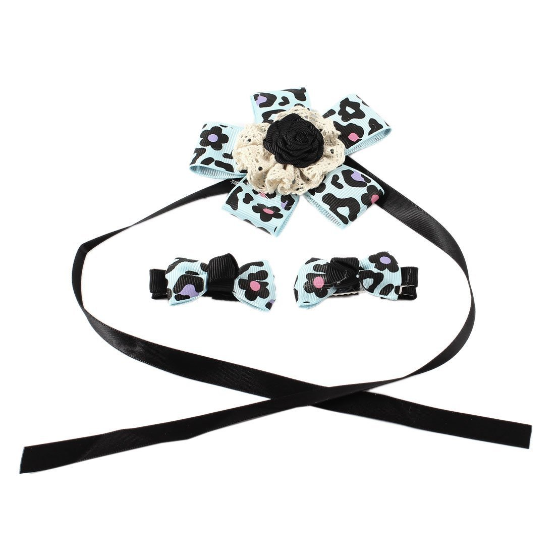 1Pc Floral Printed Pet Collar w Alligator Clip Bowtie bluee 3 in 1 Set