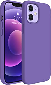 Miracase Compatible with iPhone 12 Case and iPhone 12 Pro Case 6.1 inch(2020),Liquid Silicone Gel Rubber Full Body Protection Shockproof Drop Protection Case(Noble Purple)