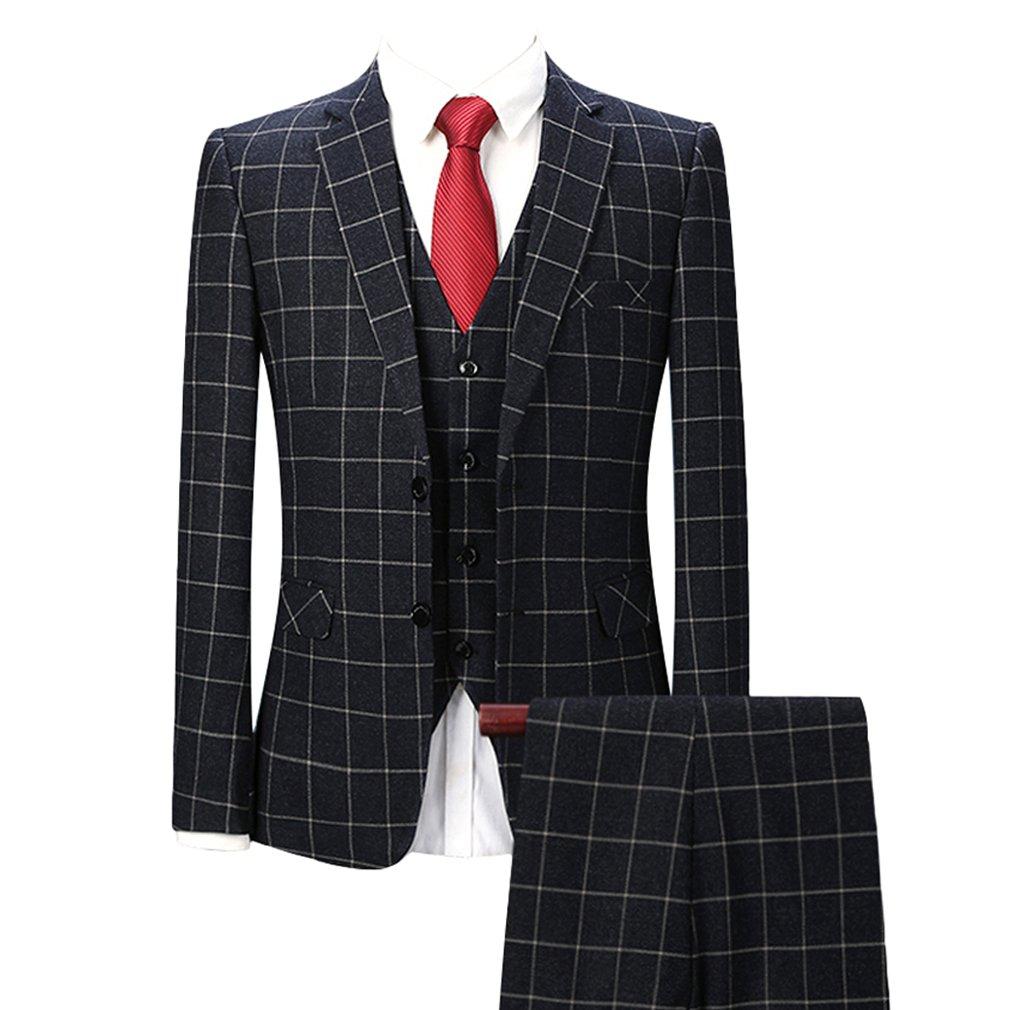 G WELL Herren 3-Teilige Anzüge Set Anzugjacke + Anzughose + Anzugweste Kariert Slim Fit für Hochzeit Business Schwarz