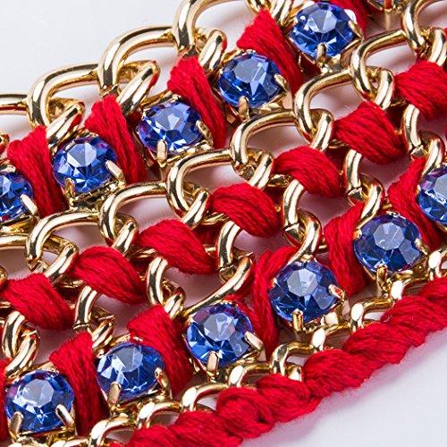 Red Collar De Cristal Nupcial Bohemio La De Blue Acrílico De Aleación Múltiples Capas Mano Filas Pendiente Femenino Tejida Estilo Boda Joyería Gargantilla De 2 Algodón De A Clavícula Collar Cadena De A4n5wqUHO