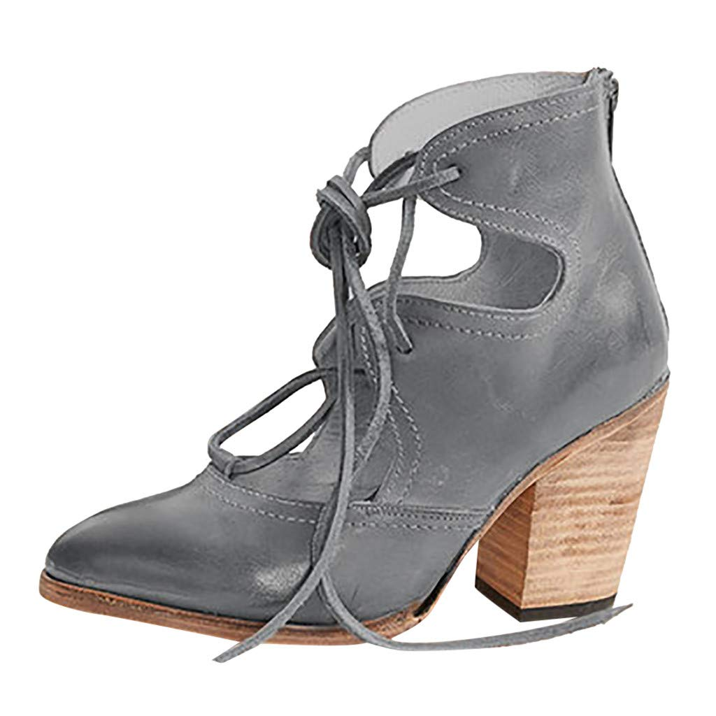 ✔ Hypothesis_X ☎ Womens Open Toe Heel Sandal Pumps Thick Heel Breathable Lace-Up Non-Slip Roman Shoes Sandals Gray by ✔ Hypothesis_X ☎ Shoes