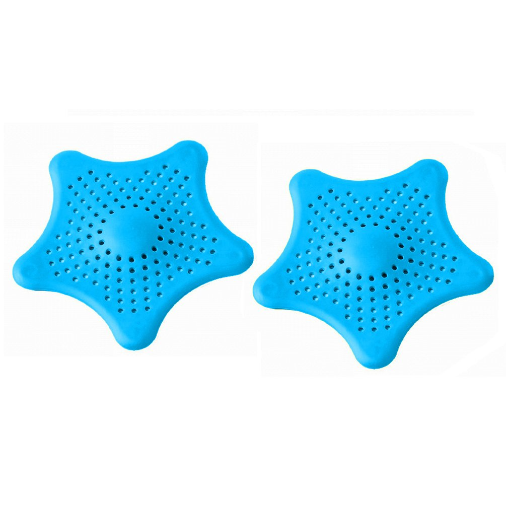 2 Pack Starfish Sink Strainer Hair Catcher Collector para Home Kitchen 6 x 6 pulgadas Durable Rubber Bathroom Filtration Drain Cover (Azul) Homeey