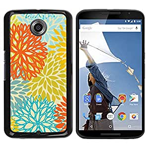 Paccase / SLIM PC / Aliminium Casa Carcasa Funda Case Cover para - Yellow Orange Teal Flowers Pattern - Motorola NEXUS 6 / X / Moto X Pro