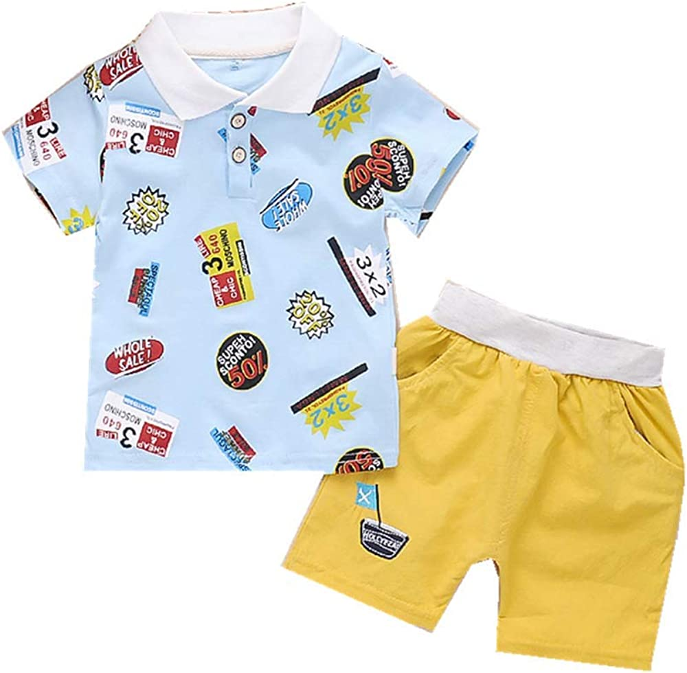 WonderBabe Toddler Boys Summer Clothes 2 Piece Sets Cotton Outfits Short Sleeve Tee and Shorts 1-8 Years
