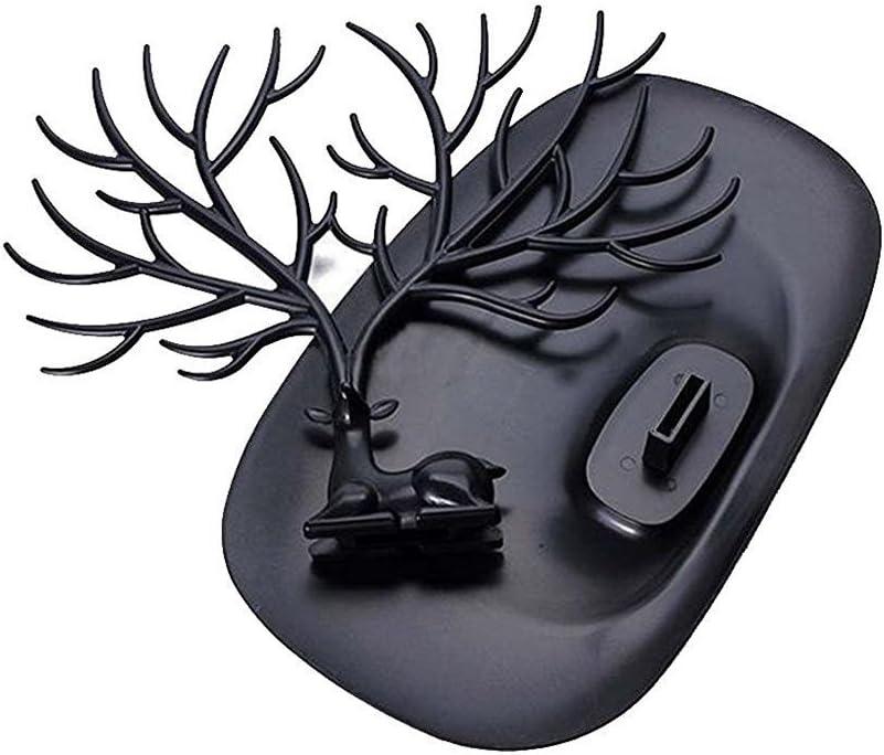color negro para uso dom/éstico fabricado en ABS Joyero con forma de cuernos de ciervo ramificados Pixnor para colgar pulseras collares y joyas en general