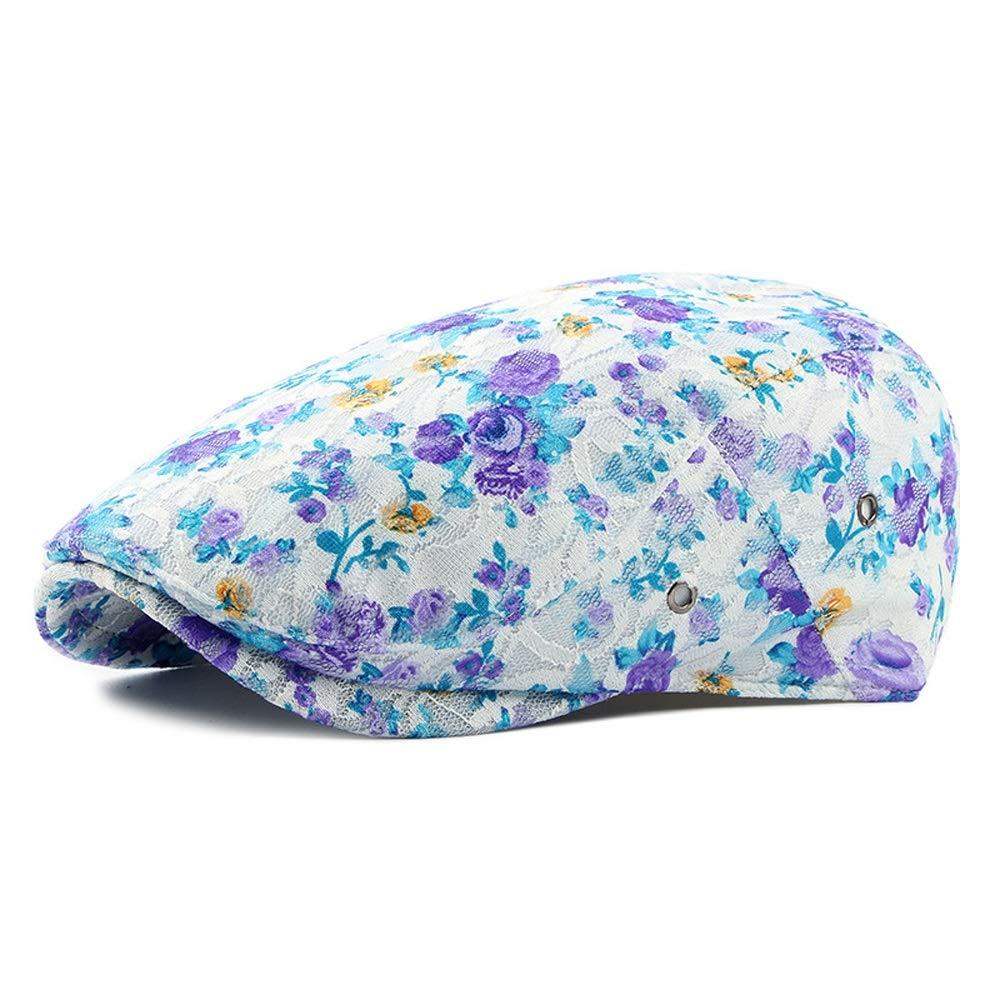 Hats Cap 2019 New Beret Cap Lace Outdoor Travel Duck Tongue Beret Women's Casual Retro Spring and Summer Men's Newspaper Boy (Color : Purple, Size : 56-58CM)