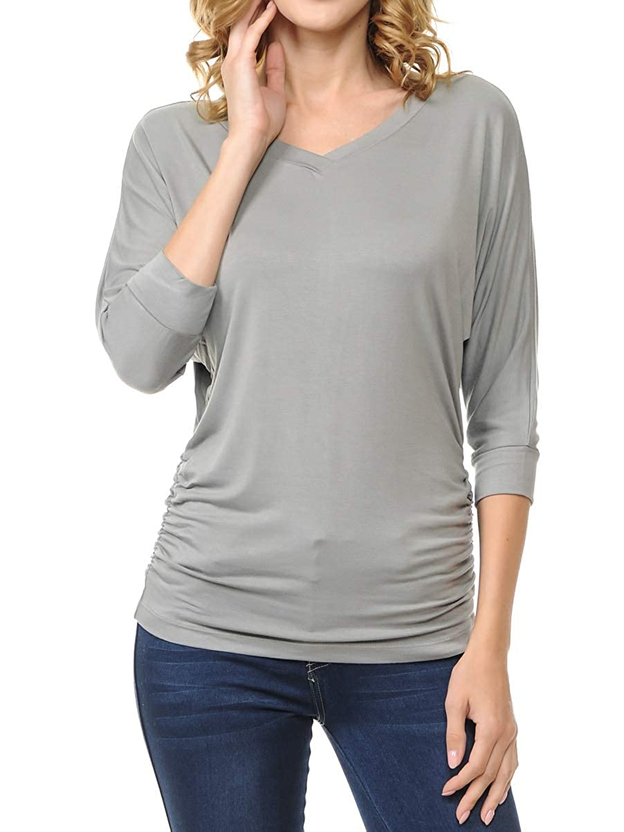 Vmoon Nist Ephphatha Womens 3 4 Sleeve Drape Top with Side Shirring  Designed in USA (S3XL)