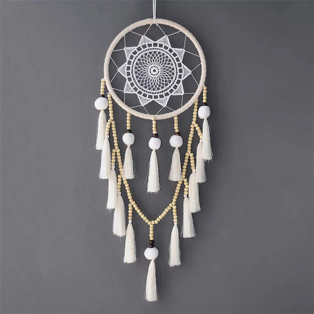 Popuava Dreamcatcher Wall Hanging Boho Dream Catchers Handmade Home Decoration Decor Ornament Craft (Beads with Tassel)