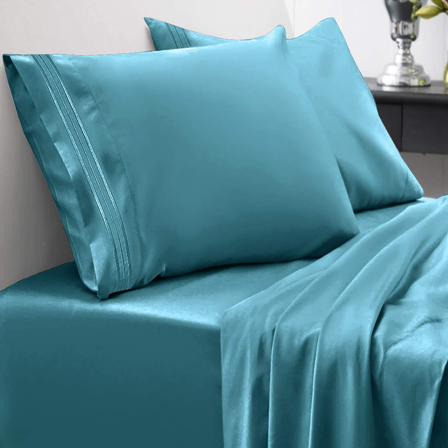 Sweet Home Collection 1800 Thread Count Bed Set Egyptian Quality Brushed Microfiber 4 Piece Deep Pocket Sheets, King, Teal