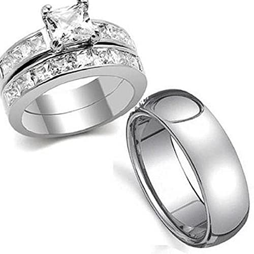 Yourjewellerybox - Anillo con detalle de anillo de matrimonio - acero inoxidable, talla 14 (