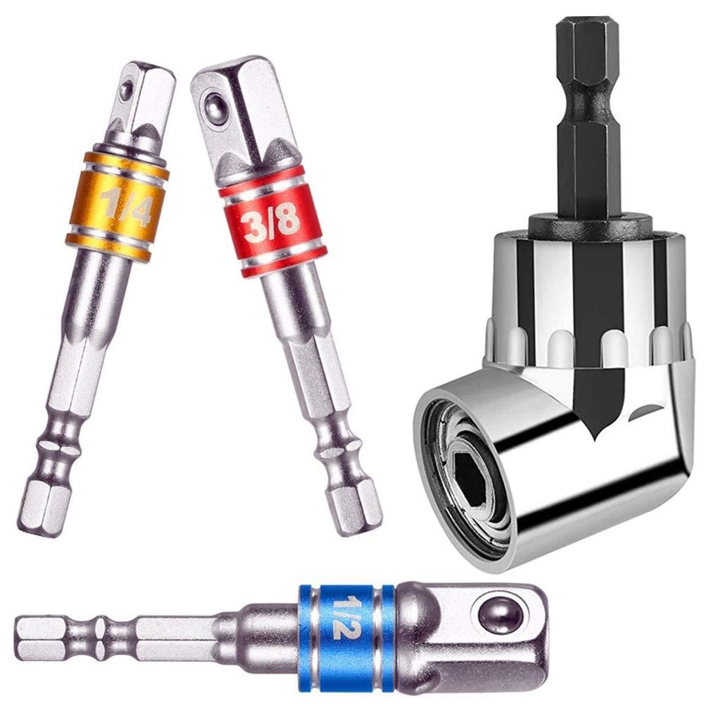 3Pcs 1//4 3//8 1//2 Impact Grade Socket Wrench Adapter Extension Set,Universal Socket Adapter Set+05 Degree Right Angle Screwdriver set Drill Hex Bit Socket Adapter