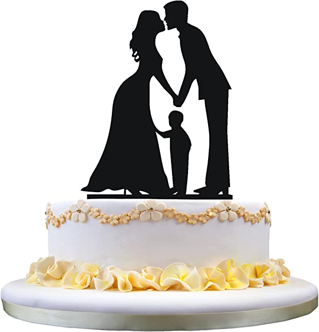 zhongfei Family Cake Topper Silhouette Groom and Bride with Little Boy,wedding cake topper ZF-11