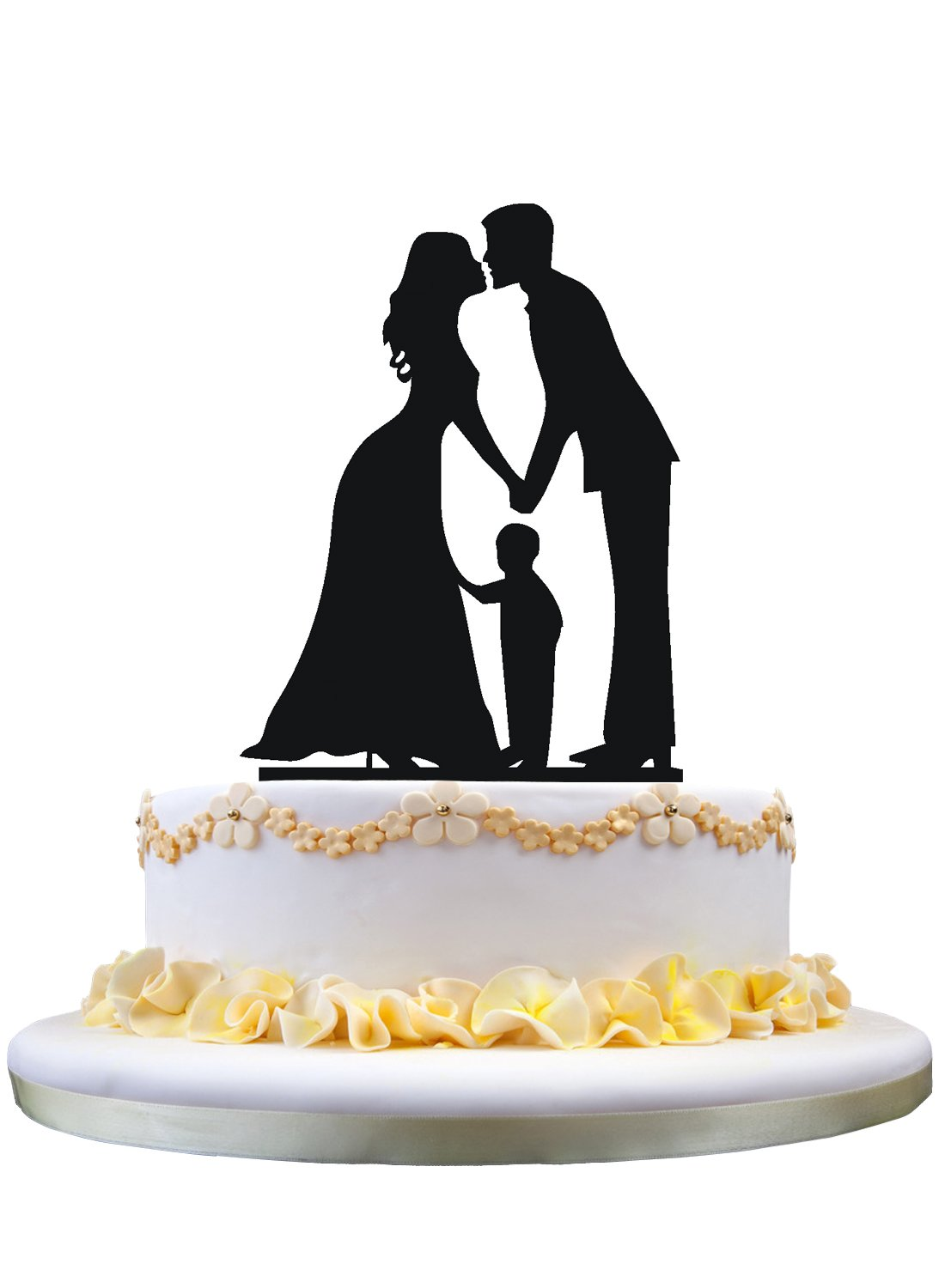Family Cake Topper Silhouette Groom and Bride with Little Boy,wedding cake topper