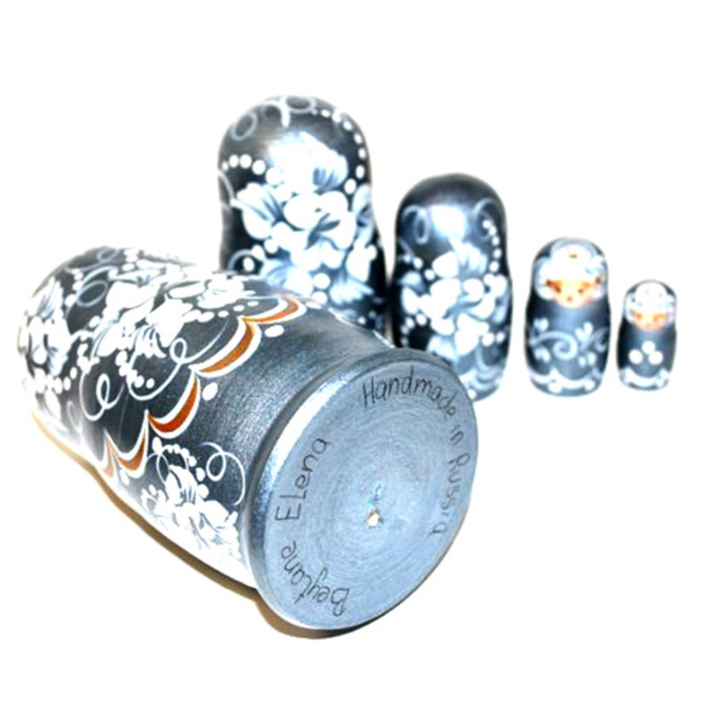 Authentic Unique Russian Hand Painted Handmade Russian Silver Nesting Dolls Set of 5 Pcs Matryoshkas 5'' Artist Signed by Gabriella's Gifts (Image #2)