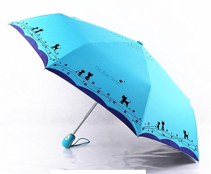 Amazon.com: Katoot@ Cute cat and flower three-folding automatic umbrella rain sun women black coating plegable windproof paraguas mujer high quality (Light ...