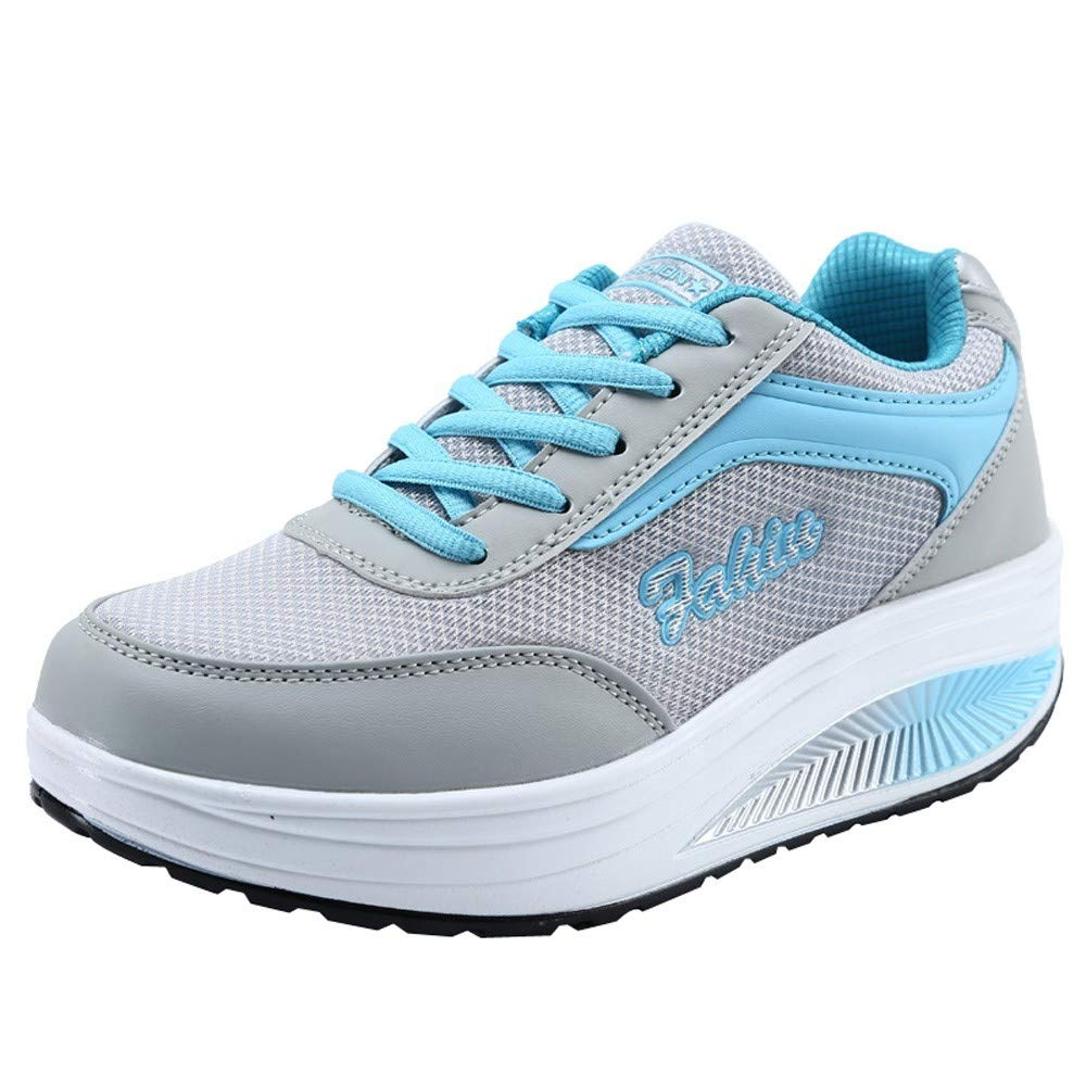 Fashion Women Mesh Breathable Heightening Cross Tied Shoes Soft Bottom Rocking Shoes Sneakers Blue by Rmeioel