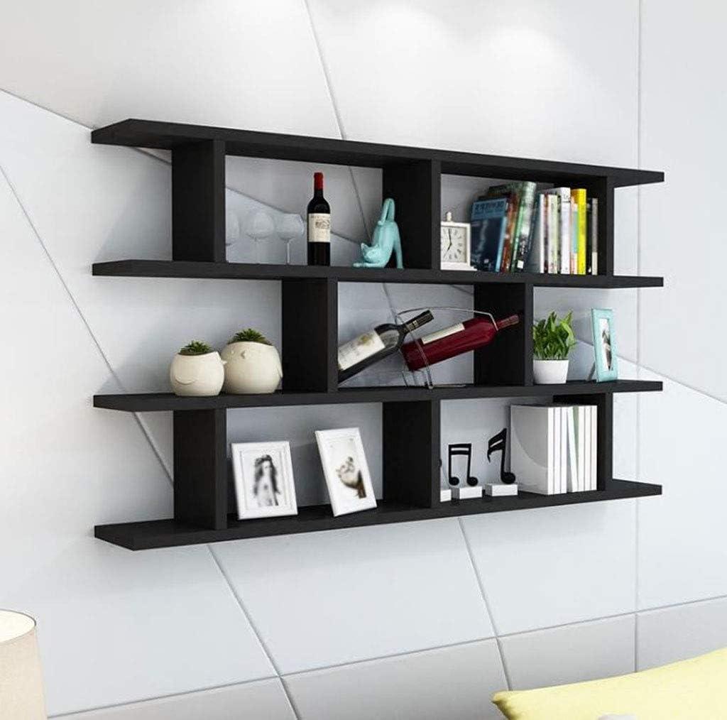 Pared blanca negra estante de madera estante de pared ...