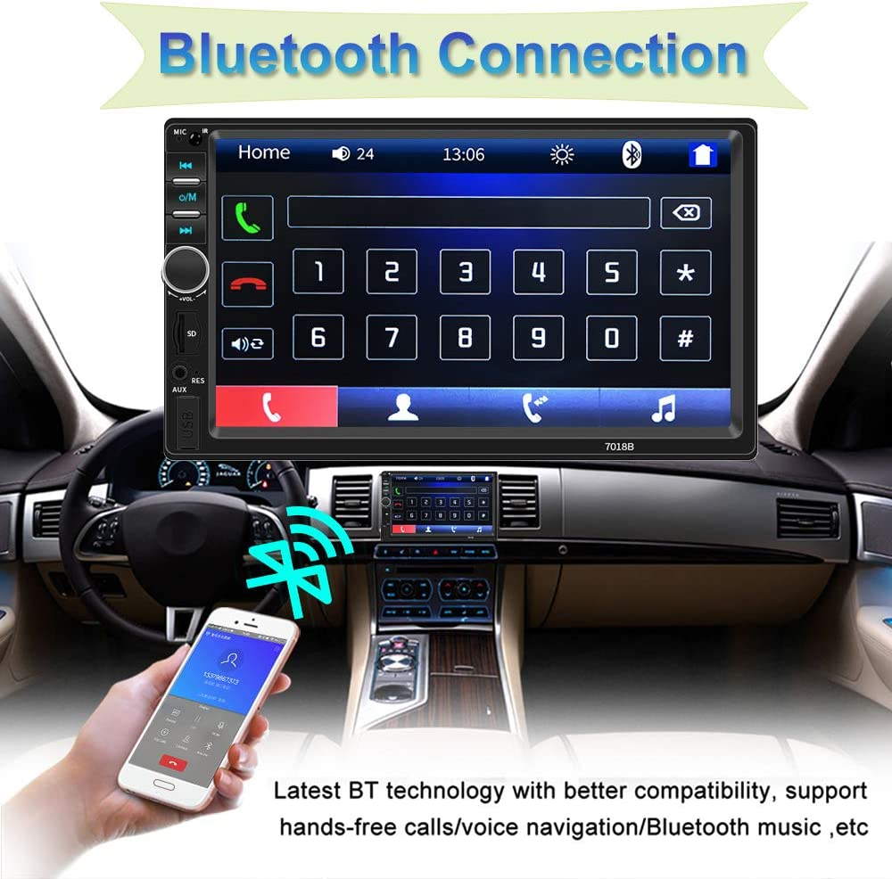 Double Din Car Stereo SD USB AUX Backup Camera 2 Din Car Radio Universal 6.2 Touchscreen Car Multimedia Player Car Radio Bluetooth,in Dash Radio Head Unit Support Mirror Link FM