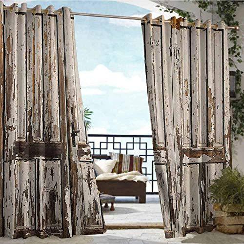 Andrea Sam Outdoor Privacy Curtain for Pergola Rustic,Vintage House Entrance with Vertical Old Planks Distressed Rustic Hardwood Design,Brown White,W96 xL108 Silver Grommet Top Drape